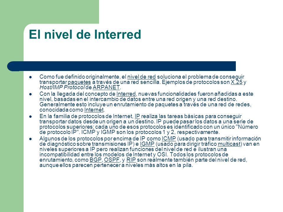 El nivel de Interred Como fue definido originalmente, el nivel de red soluciona el problema de conseguir transportar paquetes a través de una red senc