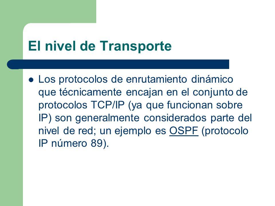 El nivel de Transporte Los protocolos de enrutamiento dinámico que técnicamente encajan en el conjunto de protocolos TCP/IP (ya que funcionan sobre IP