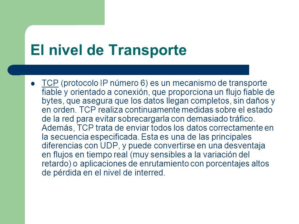 El nivel de Transporte TCP (protocolo IP número 6) es un mecanismo de transporte fiable y orientado a conexión, que proporciona un flujo fiable de byt