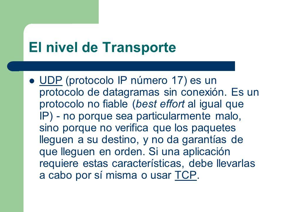 El nivel de Transporte UDP (protocolo IP número 17) es un protocolo de datagramas sin conexión. Es un protocolo no fiable (best effort al igual que IP