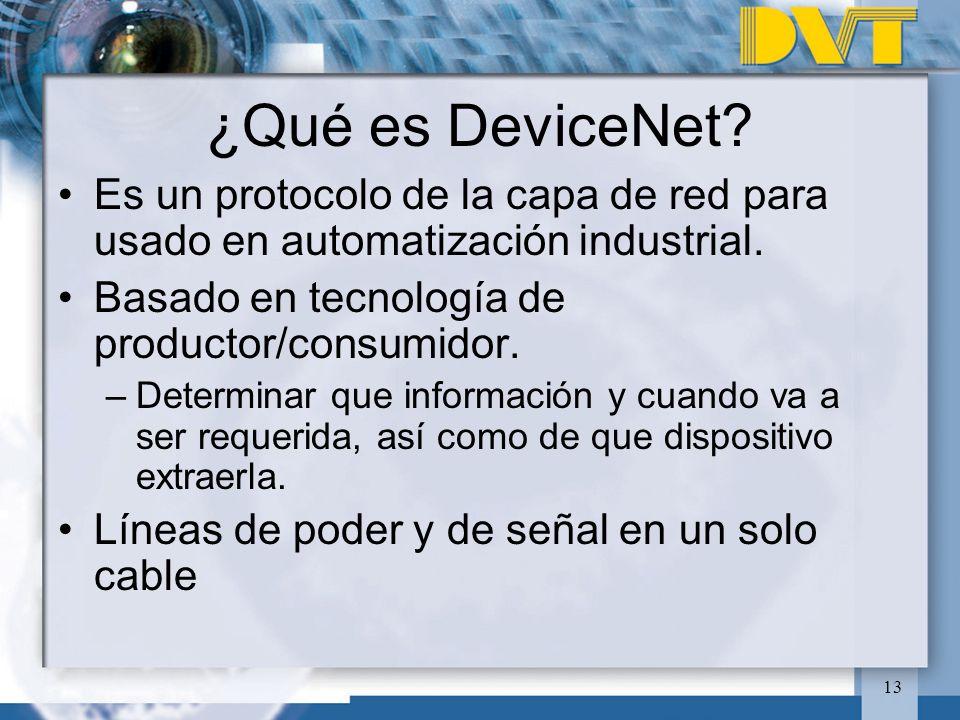 13 ¿Qué es DeviceNet? Es un protocolo de la capa de red para usado en automatización industrial. Basado en tecnología de productor/consumidor. –Determ