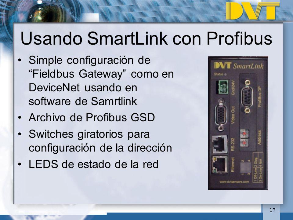 17 Usando SmartLink con Profibus Simple configuración de Fieldbus Gateway como en DeviceNet usando en software de Samrtlink Archivo de Profibus GSD Sw