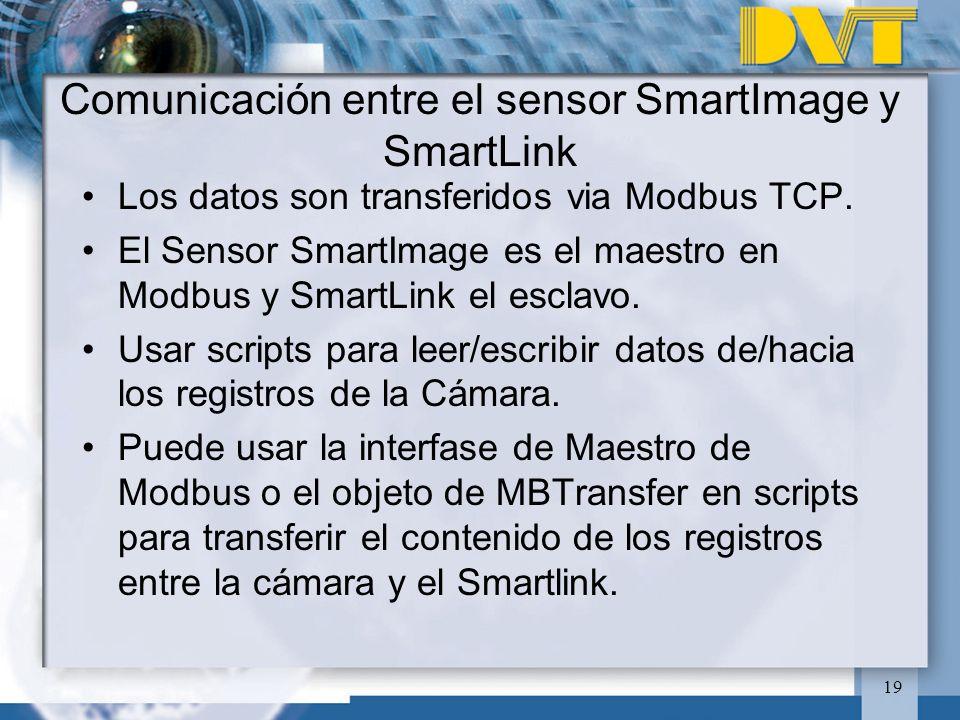 19 Comunicación entre el sensor SmartImage y SmartLink Los datos son transferidos via Modbus TCP. El Sensor SmartImage es el maestro en Modbus y Smart
