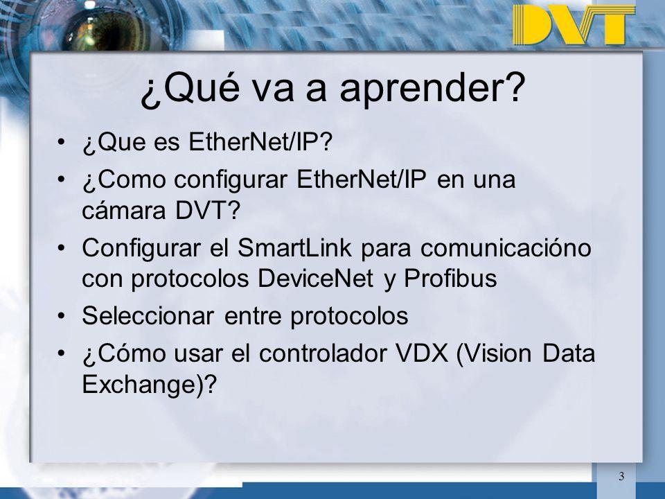 3 ¿Qué va a aprender? ¿Que es EtherNet/IP? ¿Como configurar EtherNet/IP en una cámara DVT? Configurar el SmartLink para comunicacióno con protocolos D