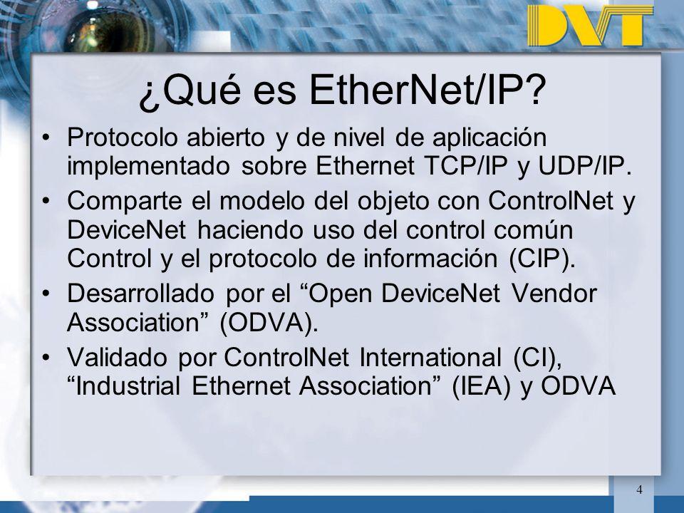 4 ¿Qué es EtherNet/IP? Protocolo abierto y de nivel de aplicación implementado sobre Ethernet TCP/IP y UDP/IP. Comparte el modelo del objeto con Contr