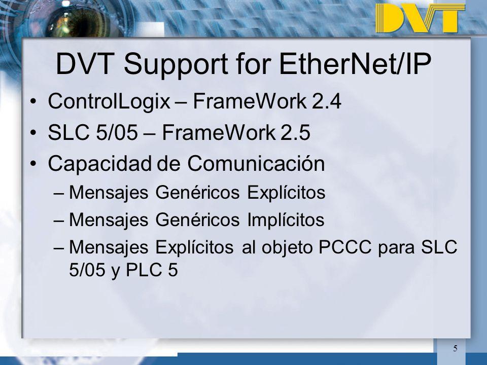 5 DVT Support for EtherNet/IP ControlLogix – FrameWork 2.4 SLC 5/05 – FrameWork 2.5 Capacidad de Comunicación –Mensajes Genéricos Explícitos –Mensajes Genéricos Implícitos –Mensajes Explícitos al objeto PCCC para SLC 5/05 y PLC 5