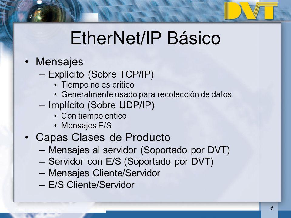 6 EtherNet/IP Básico Mensajes –Explícito (Sobre TCP/IP) Tiempo no es critico Generalmente usado para recolección de datos –Implícito (Sobre UDP/IP) Con tiempo critico Mensajes E/S Capas Clases de Producto –Mensajes al servidor (Soportado por DVT) –Servidor con E/S (Soportado por DVT) –Mensajes Cliente/Servidor –E/S Cliente/Servidor
