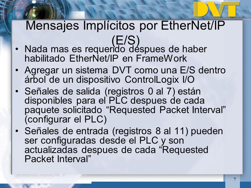7 Mensajes Implícitos por EtherNet/IP (E/S) Nada mas es requerido despues de haber habilitado EtherNet/IP en FrameWork Agregar un sistema DVT como una