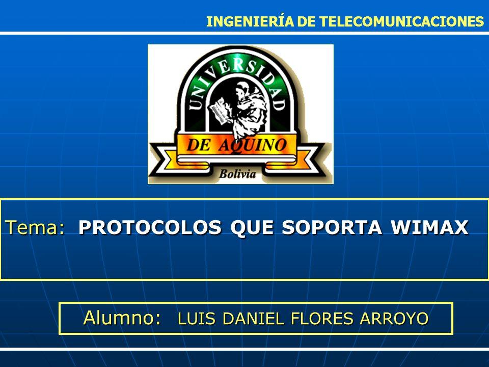 Tema: PROTOCOLOS QUE SOPORTA WIMAX INGENIERÍA DE TELECOMUNICACIONES Alumno: LUIS DANIEL FLORES ARROYO