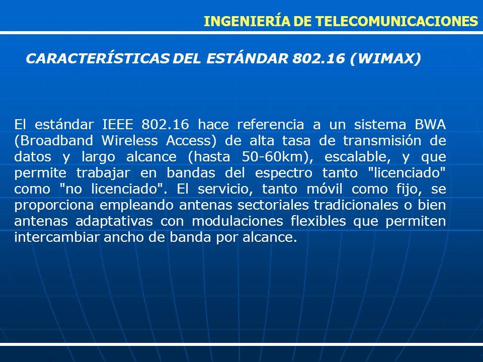El estándar IEEE 802.16 hace referencia a un sistema BWA (Broadband Wireless Access) de alta tasa de transmisión de datos y largo alcance (hasta 50-60