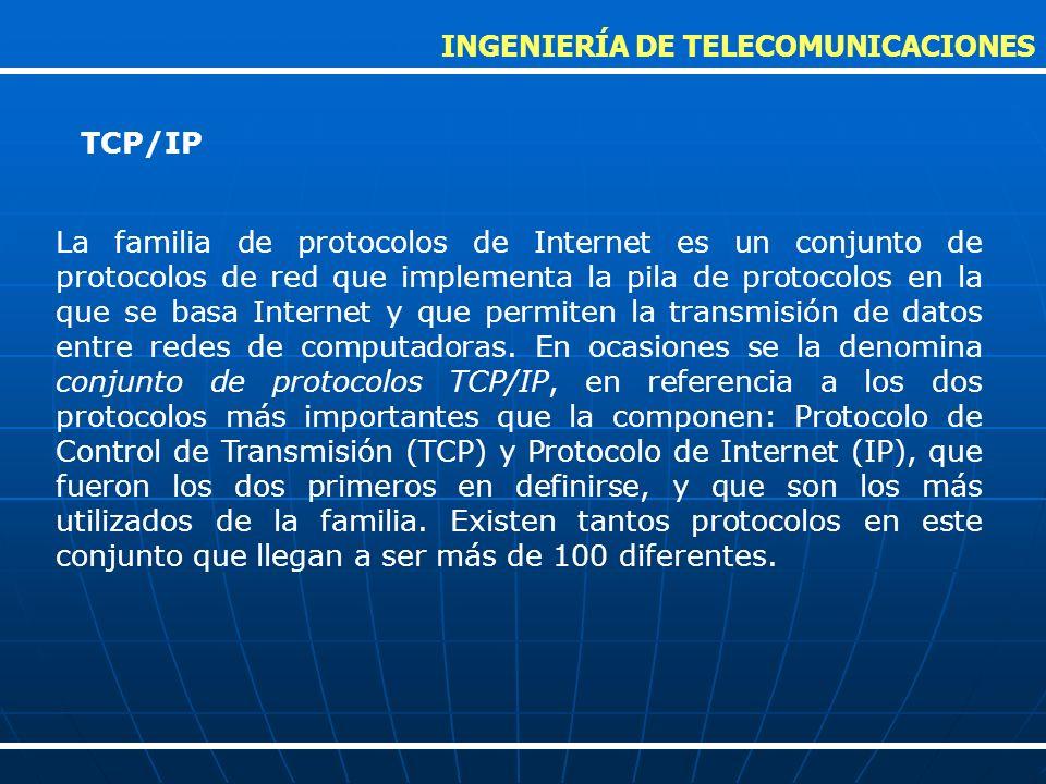 La familia de protocolos de Internet es un conjunto de protocolos de red que implementa la pila de protocolos en la que se basa Internet y que permite