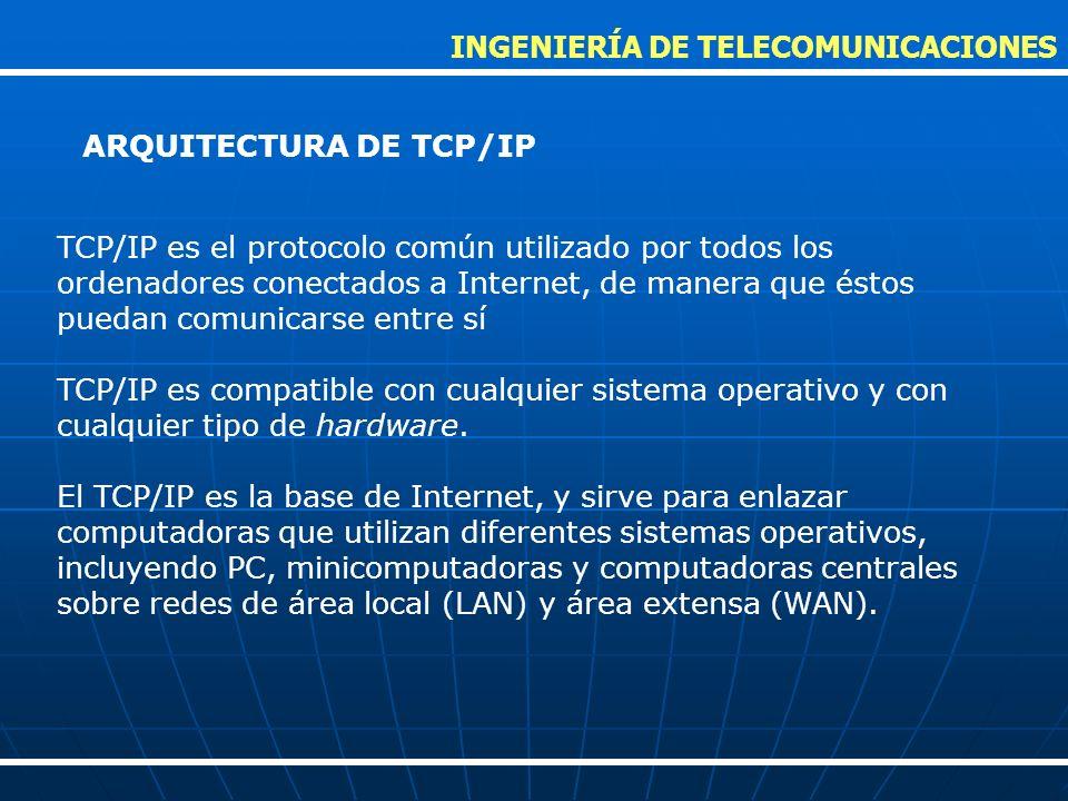 TCP/IP es el protocolo común utilizado por todos los ordenadores conectados a Internet, de manera que éstos puedan comunicarse entre sí TCP/IP es comp