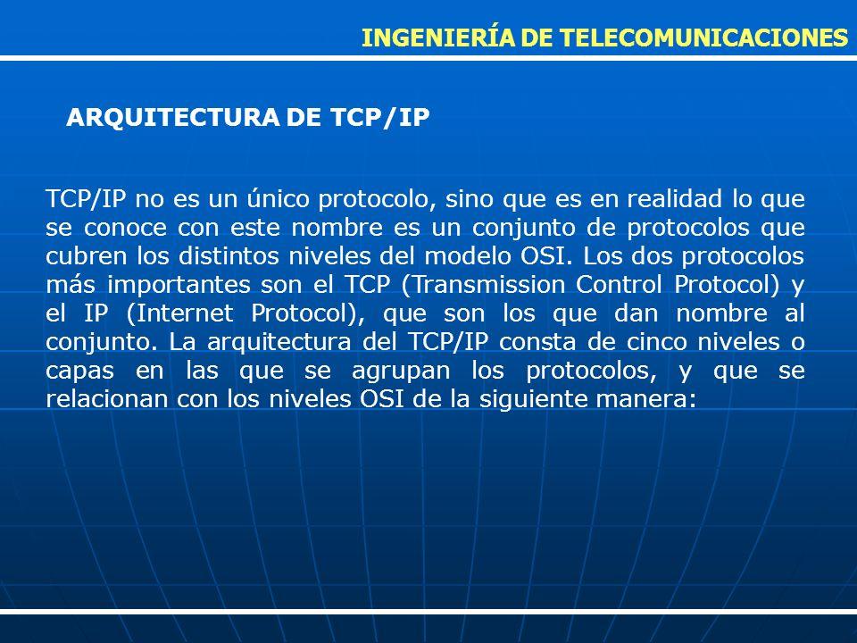 TCP/IP no es un único protocolo, sino que es en realidad lo que se conoce con este nombre es un conjunto de protocolos que cubren los distintos nivele