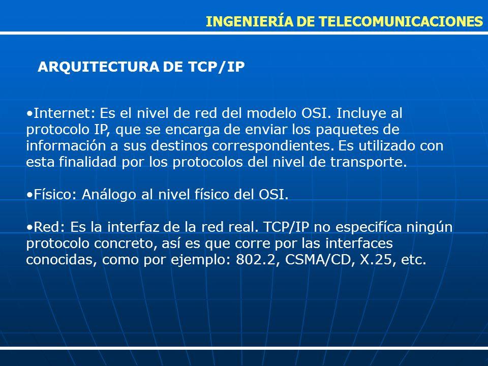 Internet: Es el nivel de red del modelo OSI. Incluye al protocolo IP, que se encarga de enviar los paquetes de información a sus destinos correspondie