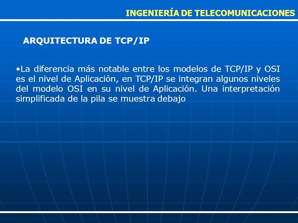 La diferencia más notable entre los modelos de TCP/IP y OSI es el nivel de Aplicación, en TCP/IP se integran algunos niveles del modelo OSI en su nive
