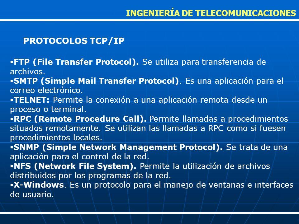 FTP (File Transfer Protocol). Se utiliza para transferencia de archivos. SMTP (Simple Mail Transfer Protocol). Es una aplicación para el correo electr