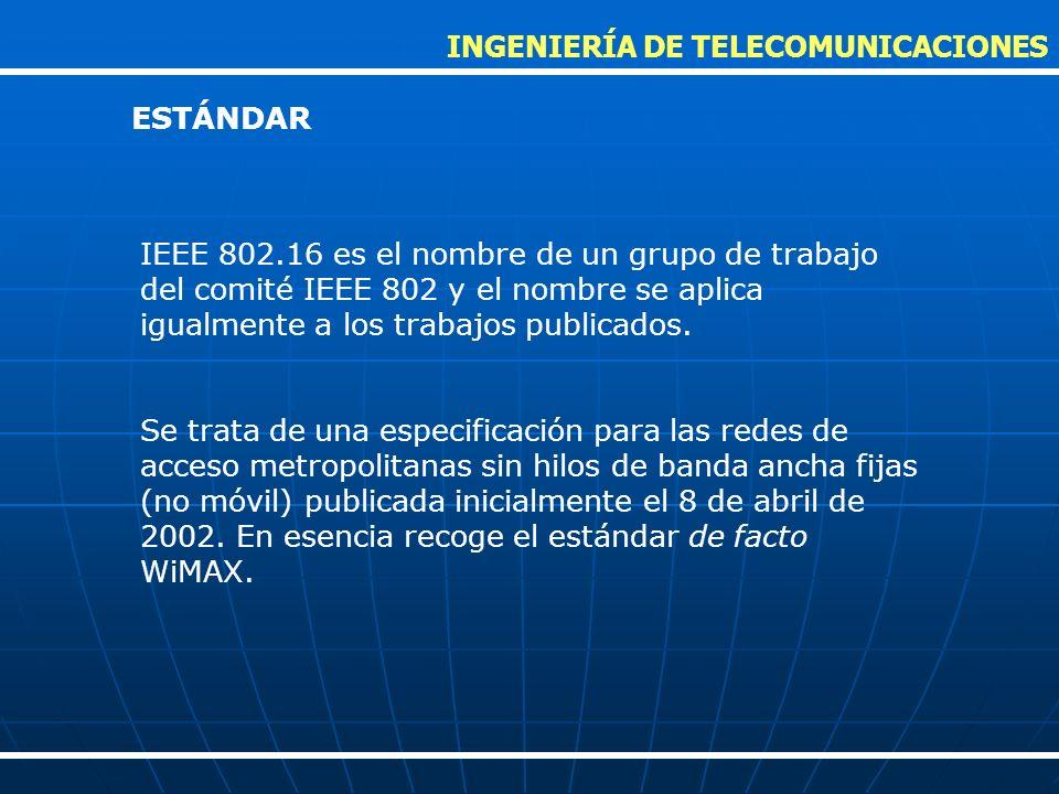 El estándar actual es el IEEE 802.16-2005, aprobado en 2005.