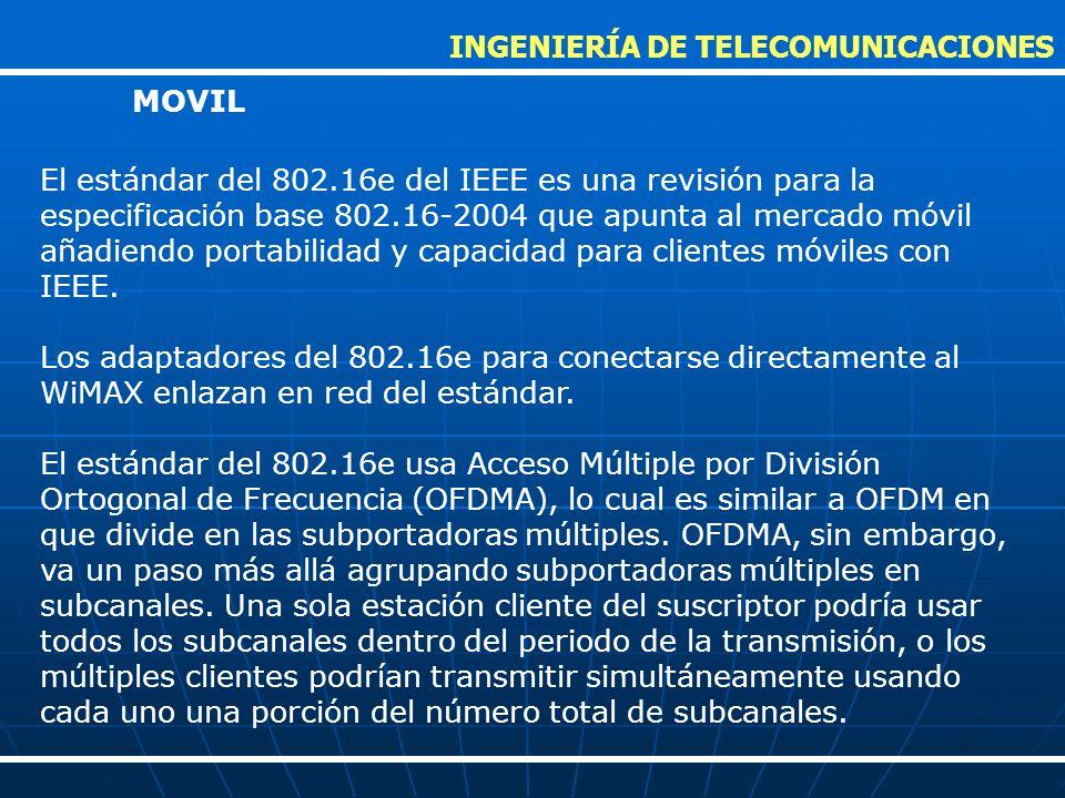 El estándar del 802.16e del IEEE es una revisión para la especificación base 802.16-2004 que apunta al mercado móvil añadiendo portabilidad y capacida