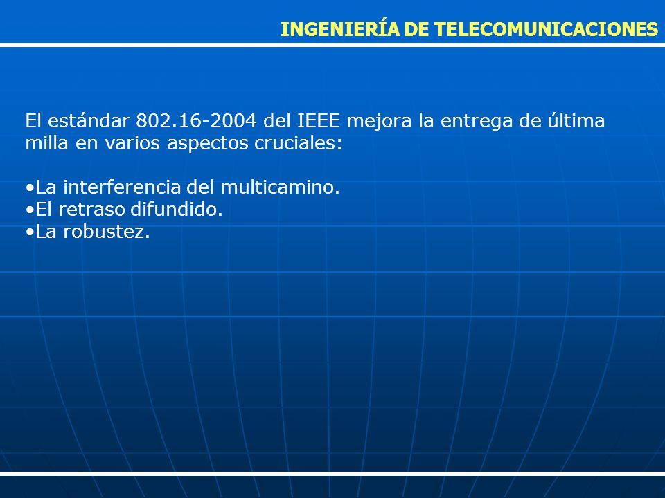 El estándar 802.16-2004 del IEEE mejora la entrega de última milla en varios aspectos cruciales: La interferencia del multicamino. El retraso difundid