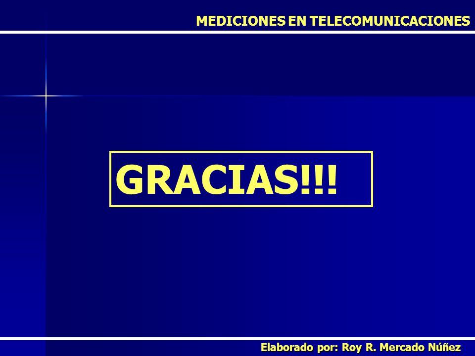 GRACIAS!!! MEDICIONES EN TELECOMUNICACIONES Elaborado por: Roy R. Mercado Núñez