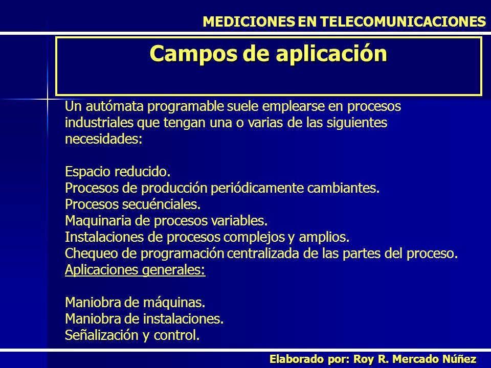 MEDICIONES EN TELECOMUNICACIONES Campos de aplicación Elaborado por: Roy R. Mercado Núñez Un autómata programable suele emplearse en procesos industri