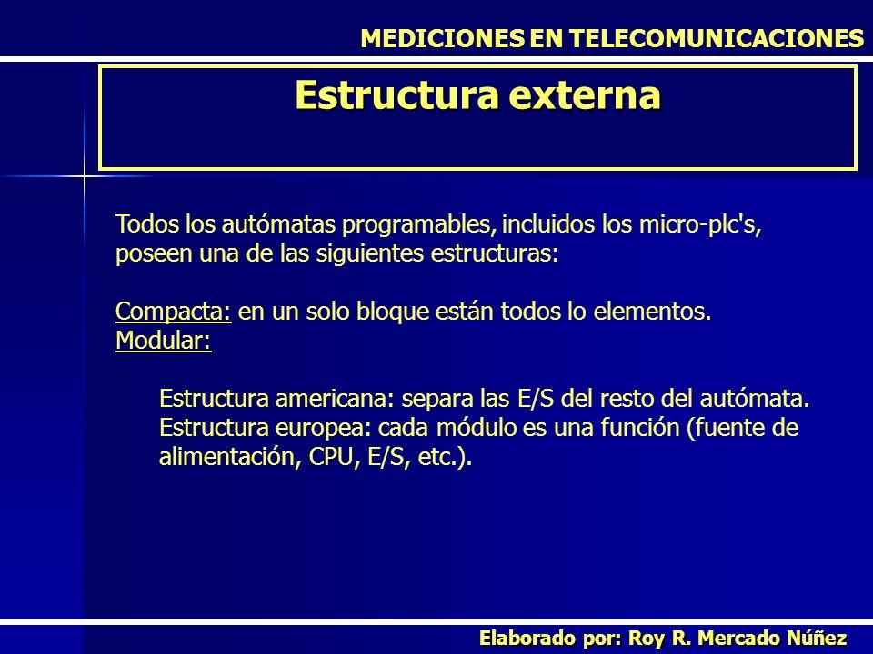 MEDICIONES EN TELECOMUNICACIONES Estructura externa Elaborado por: Roy R. Mercado Núñez Todos los autómatas programables, incluidos los micro-plc's, p