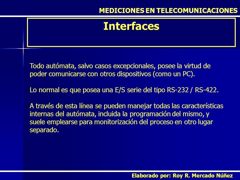 MEDICIONES EN TELECOMUNICACIONES Interfaces Elaborado por: Roy R. Mercado Núñez Todo autómata, salvo casos excepcionales, posee la virtud de poder com