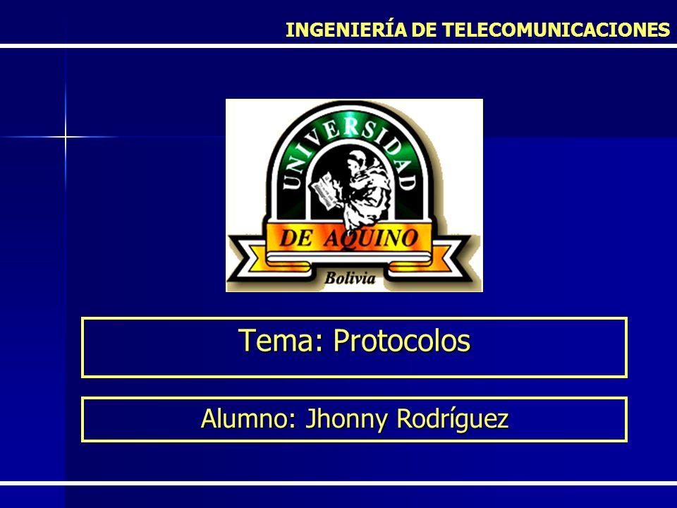 Tema: Protocolos INGENIERÍA DE TELECOMUNICACIONES Alumno: Jhonny Rodríguez