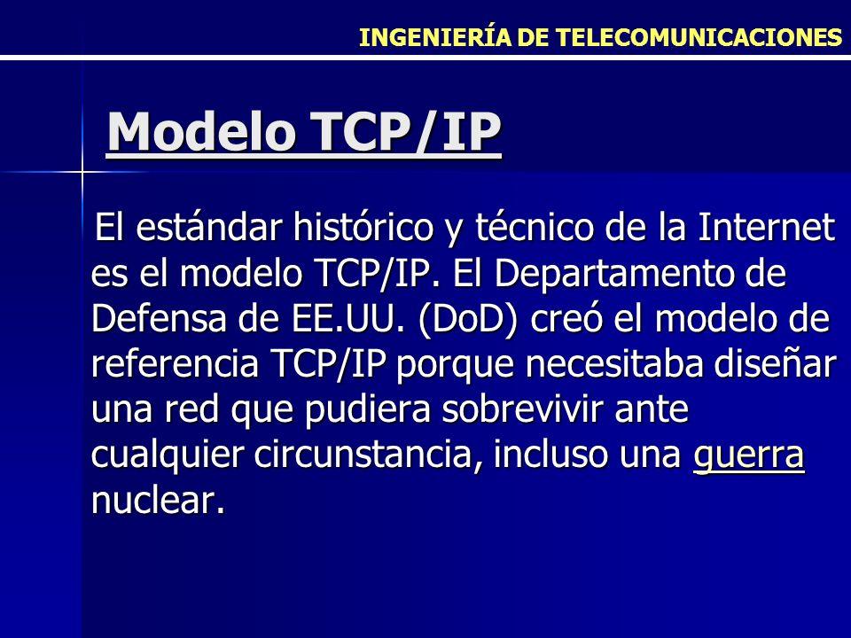 INGENIERÍA DE TELECOMUNICACIONES Modelo TCP/IP El estándar histórico y técnico de la Internet es el modelo TCP/IP. El Departamento de Defensa de EE.UU