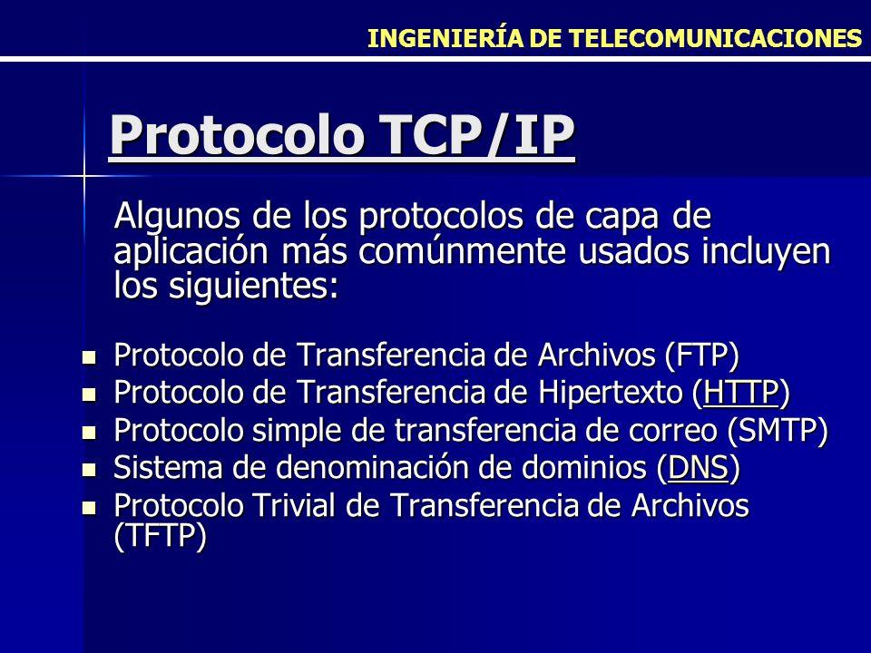 INGENIERÍA DE TELECOMUNICACIONES Protocolo TCP/IP Algunos de los protocolos de capa de aplicación más comúnmente usados incluyen los siguientes: Algun
