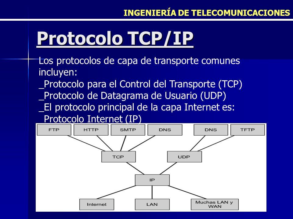 INGENIERÍA DE TELECOMUNICACIONES Protocolo TCP/IP Los protocolos de capa de transporte comunes incluyen: _Protocolo para el Control del Transporte (TC