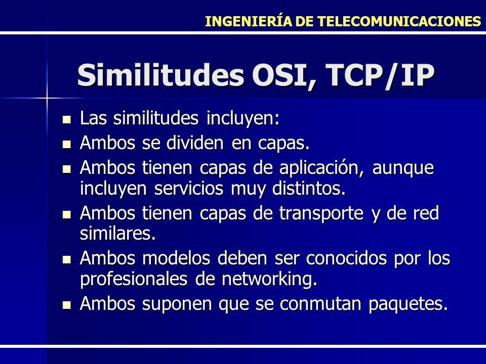 INGENIERÍA DE TELECOMUNICACIONES Similitudes OSI, TCP/IP Las similitudes incluyen: Las similitudes incluyen: Ambos se dividen en capas. Ambos se divid