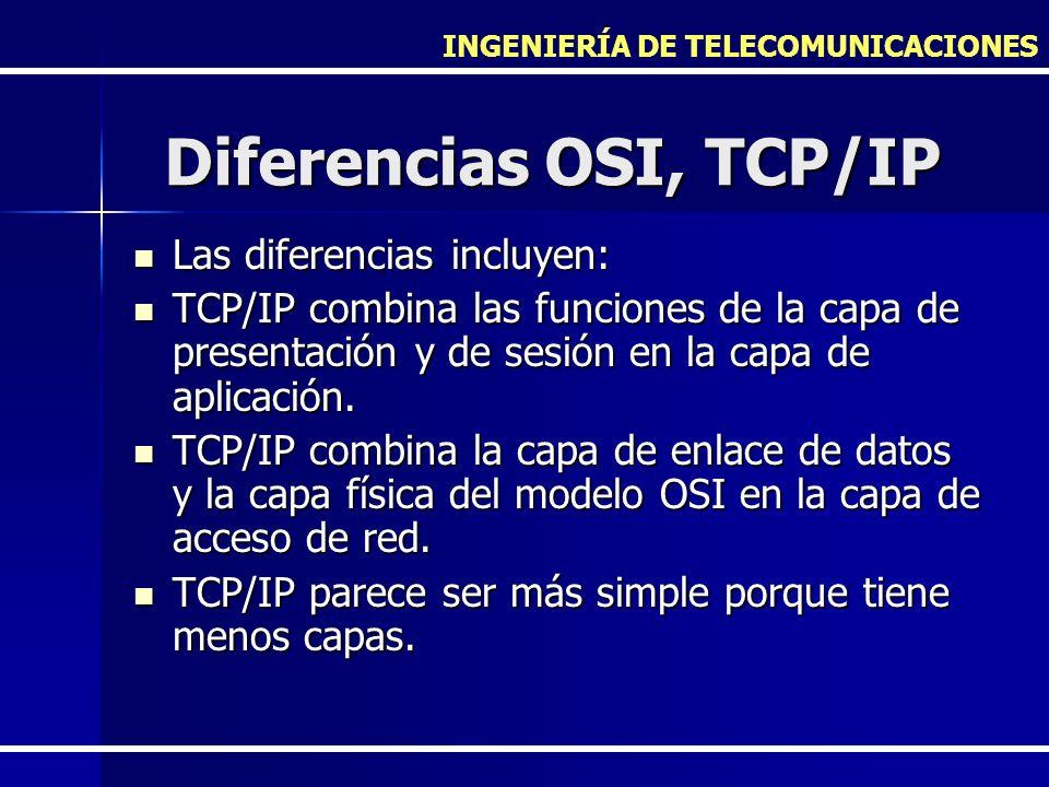 INGENIERÍA DE TELECOMUNICACIONES Diferencias OSI, TCP/IP Las diferencias incluyen: Las diferencias incluyen: TCP/IP combina las funciones de la capa d