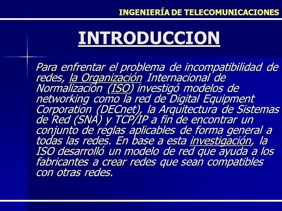 INGENIERÍA DE TELECOMUNICACIONES INTRODUCCION Para enfrentar el problema de incompatibilidad de redes, la Organización Internacional de Normalización