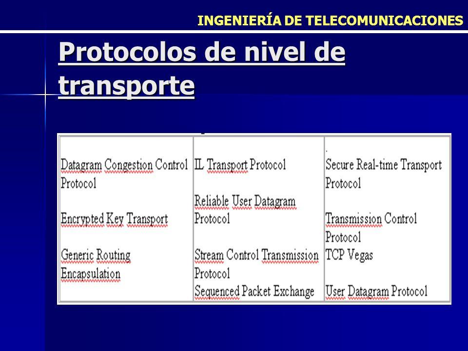INGENIERÍA DE TELECOMUNICACIONES Protocolos de nivel de transporte