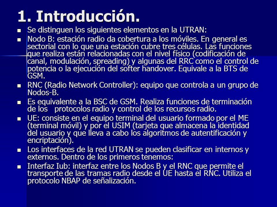 1. Introducción. Se distinguen los siguientes elementos en la UTRAN: Se distinguen los siguientes elementos en la UTRAN: Nodo B: estación radio da cob