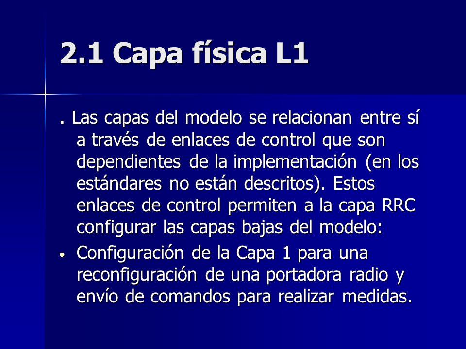 2.1 Capa física L1. Las capas del modelo se relacionan entre sí a través de enlaces de control que son dependientes de la implementación (en los están