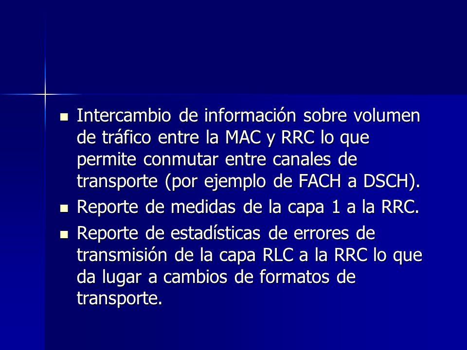 Intercambio de información sobre volumen de tráfico entre la MAC y RRC lo que permite conmutar entre canales de transporte (por ejemplo de FACH a DSCH