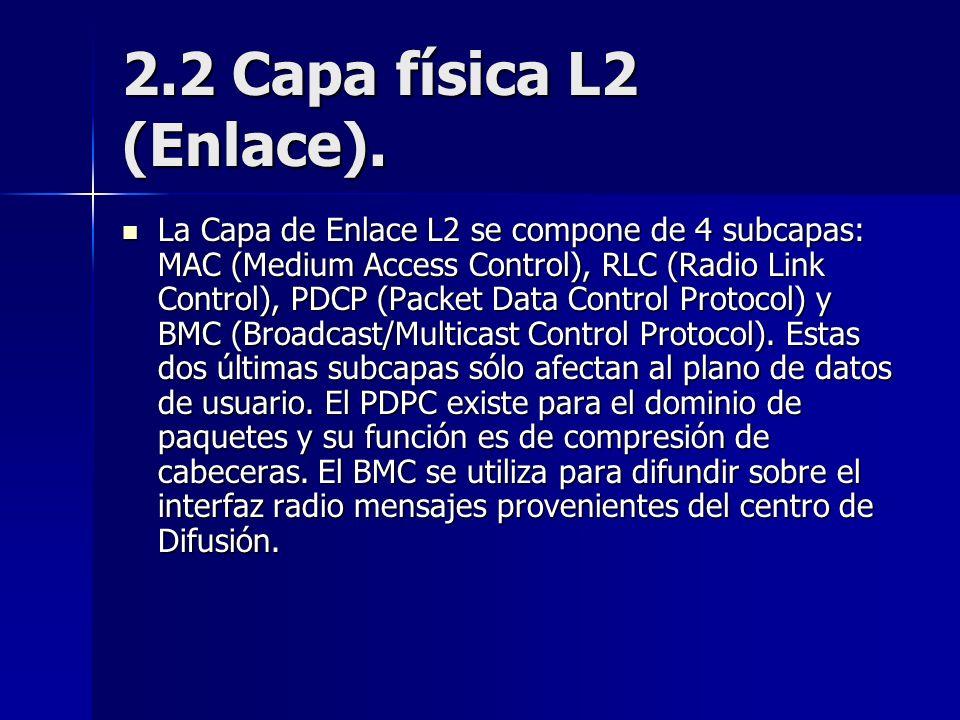 2.2 Capa física L2 (Enlace). La Capa de Enlace L2 se compone de 4 subcapas: MAC (Medium Access Control), RLC (Radio Link Control), PDCP (Packet Data C
