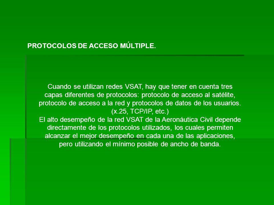 Protocolos de Acceso a la capacidad satelital: Estos protocolos describen la forma en que múltiples estaciones VSAT comparten el ancho de banda del satélite.