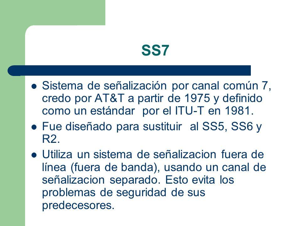 SS7 Sistema de señalización por canal común 7, credo por AT&T a partir de 1975 y definido como un estándar por el ITU-T en 1981. Fue diseñado para sus