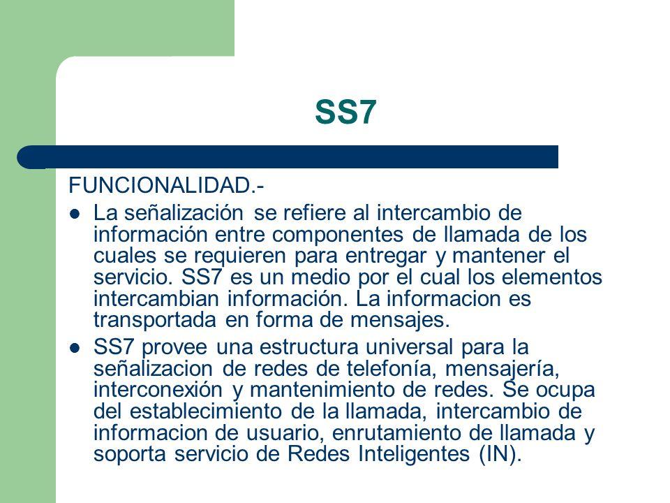 SS7 FUNCIONALIDAD.- La señalización se refiere al intercambio de información entre componentes de llamada de los cuales se requieren para entregar y m