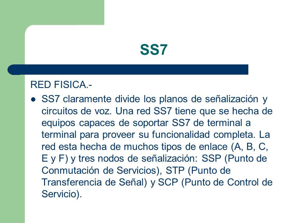 SS7 RED FISICA.- SS7 claramente divide los planos de señalización y circuitos de voz. Una red SS7 tiene que se hecha de equipos capaces de soportar SS