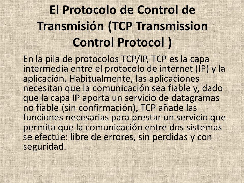El Protocolo de Control de Transmisión (TCP Transmission Control Protocol ) En la pila de protocolos TCP/IP, TCP es la capa intermedia entre el protocolo de internet (IP) y la aplicación.