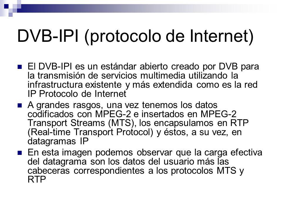 Pila de protocolos para ofrecer servicios DVB-IP La figura siguiente se trata de un diagrama lógico de los protocolos como interfaz de DVB- IPI.