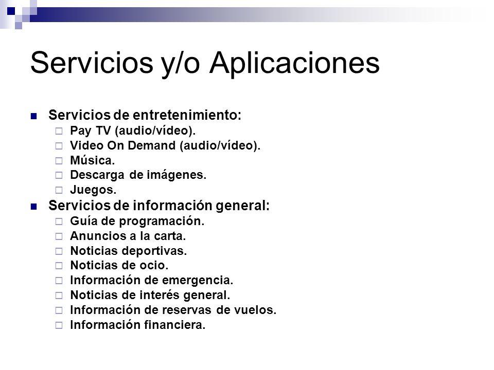 Servicios y/o Aplicaciones Servicios de entretenimiento: Pay TV (audio/vídeo). Video On Demand (audio/vídeo). Música. Descarga de imágenes. Juegos. Se