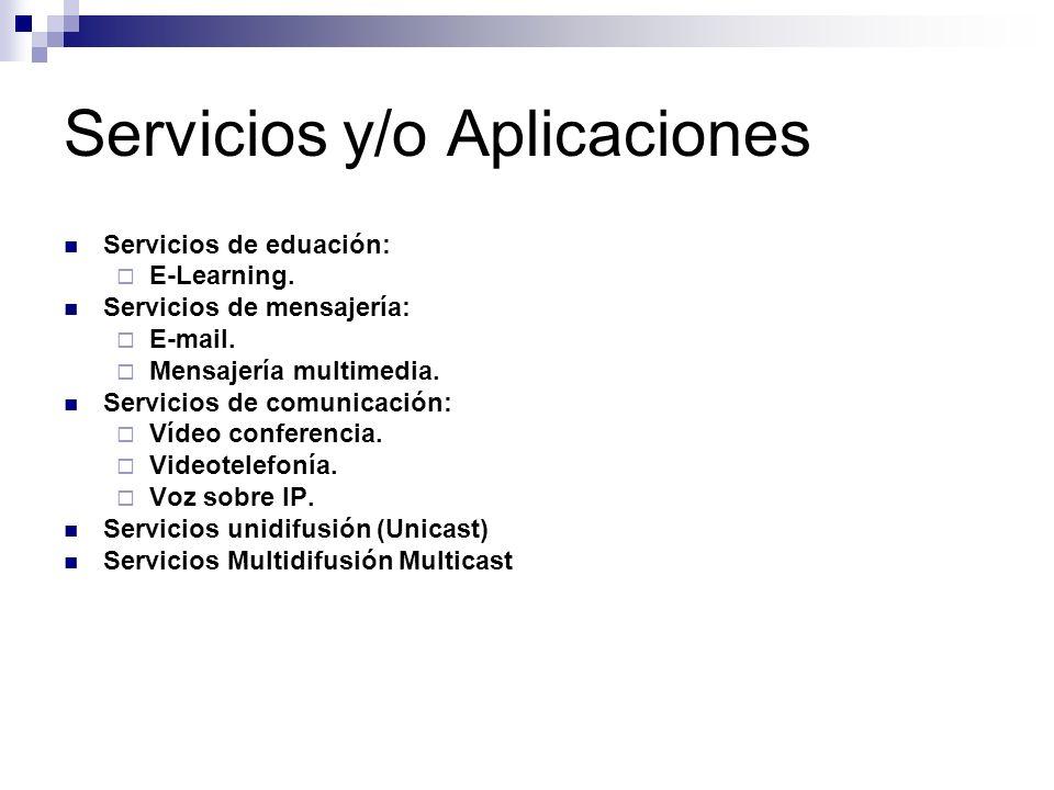 Servicios y/o Aplicaciones Servicios de eduación: E-Learning. Servicios de mensajería: E-mail. Mensajería multimedia. Servicios de comunicación: Vídeo