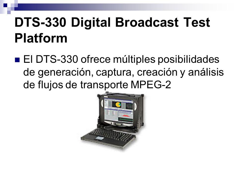 DTS-330 Digital Broadcast Test Platform Características Monitorización, análisis, registro, creación y reproducción de flujos de transporte, desde 1 Kb/segundo hasta 214 MB/segundo.