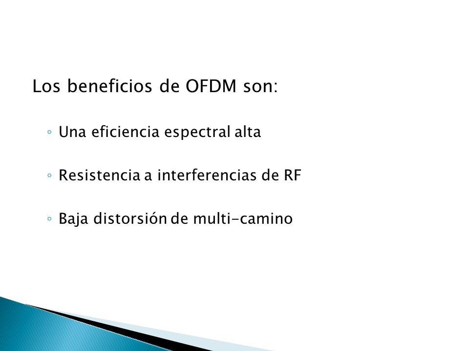Los beneficios de OFDM son: Una eficiencia espectral alta Resistencia a interferencias de RF Baja distorsión de multi-camino