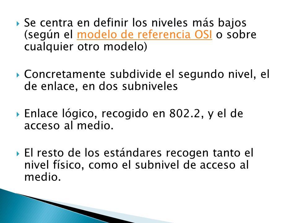 Se centra en definir los niveles más bajos (según el modelo de referencia OSI o sobre cualquier otro modelo)modelo de referencia OSI Concretamente subdivide el segundo nivel, el de enlace, en dos subniveles Enlace lógico, recogido en 802.2, y el de acceso al medio.
